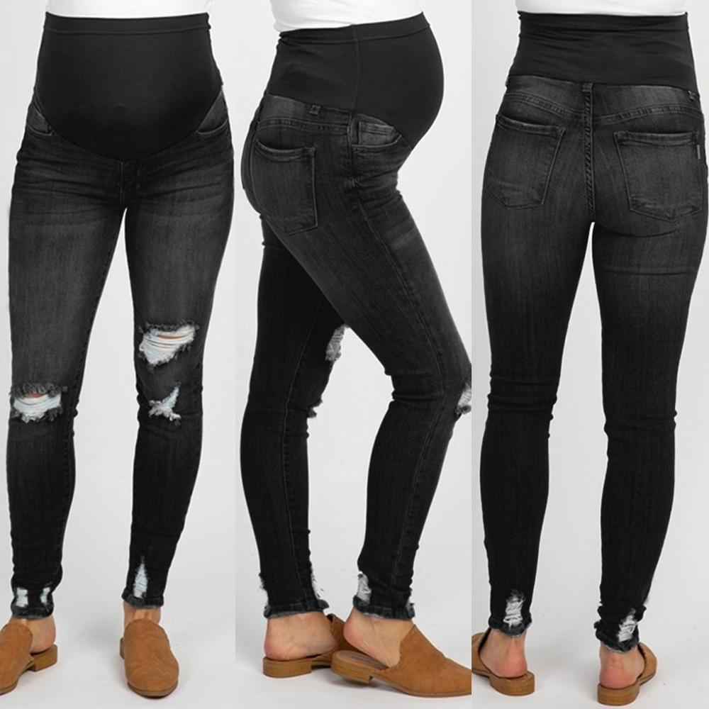Moda Gestantes Ragged Jeans grávida 2019 New Women Cuidados Pillar Calças Abdominal Leggings soltos