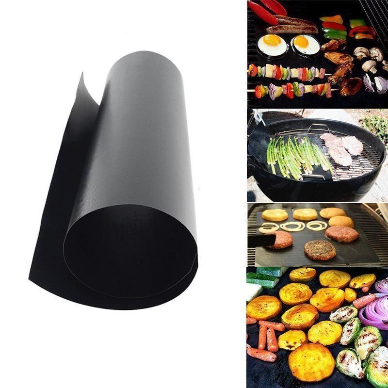 BBQ 그릴 매트 휴대용 비 스틱 및 재사용 만들기 굽고 쉬운 33 * 40CM 0.2mm의 검은 색 오븐 핫 플레이트 매트