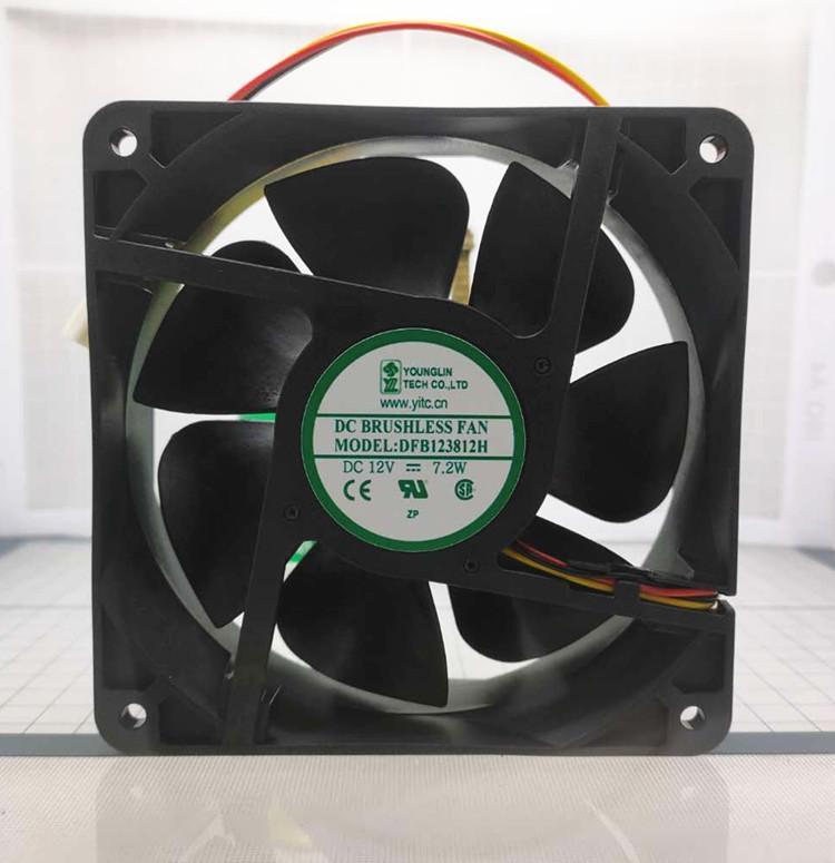 빅 에어 컴퓨터 냉각 팬 DFB123812H DC 12V 7.2W 0.6A 12038 12CM 120 * 120 * 38mm 3 전선