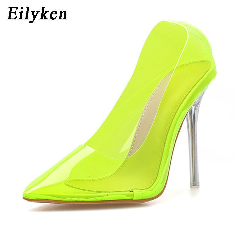 Bombas Eilyken 2019 nuevos atractivos de PVC transparente de cristal Mujer de los altos talones verde fluorescente fiesta de la boda zapatos de las bombas