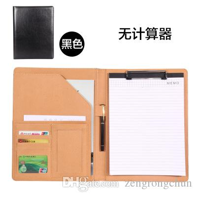 A4 PP Leather File Folder With Calculator Multifunction Office Supplies Organizer Manager Writing Pads Legal Paper Contract