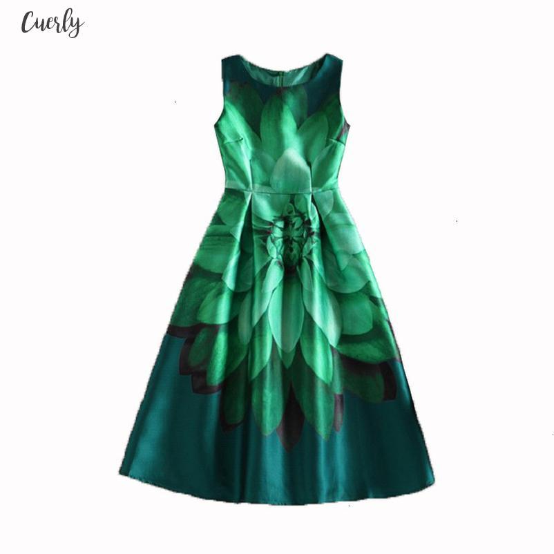 Celebrity Inspired Women Elegant Vintage Flower Floral Print Vest Dresses O Neck Plus Size Dresses Vestido De Fiesta Drop Shipping