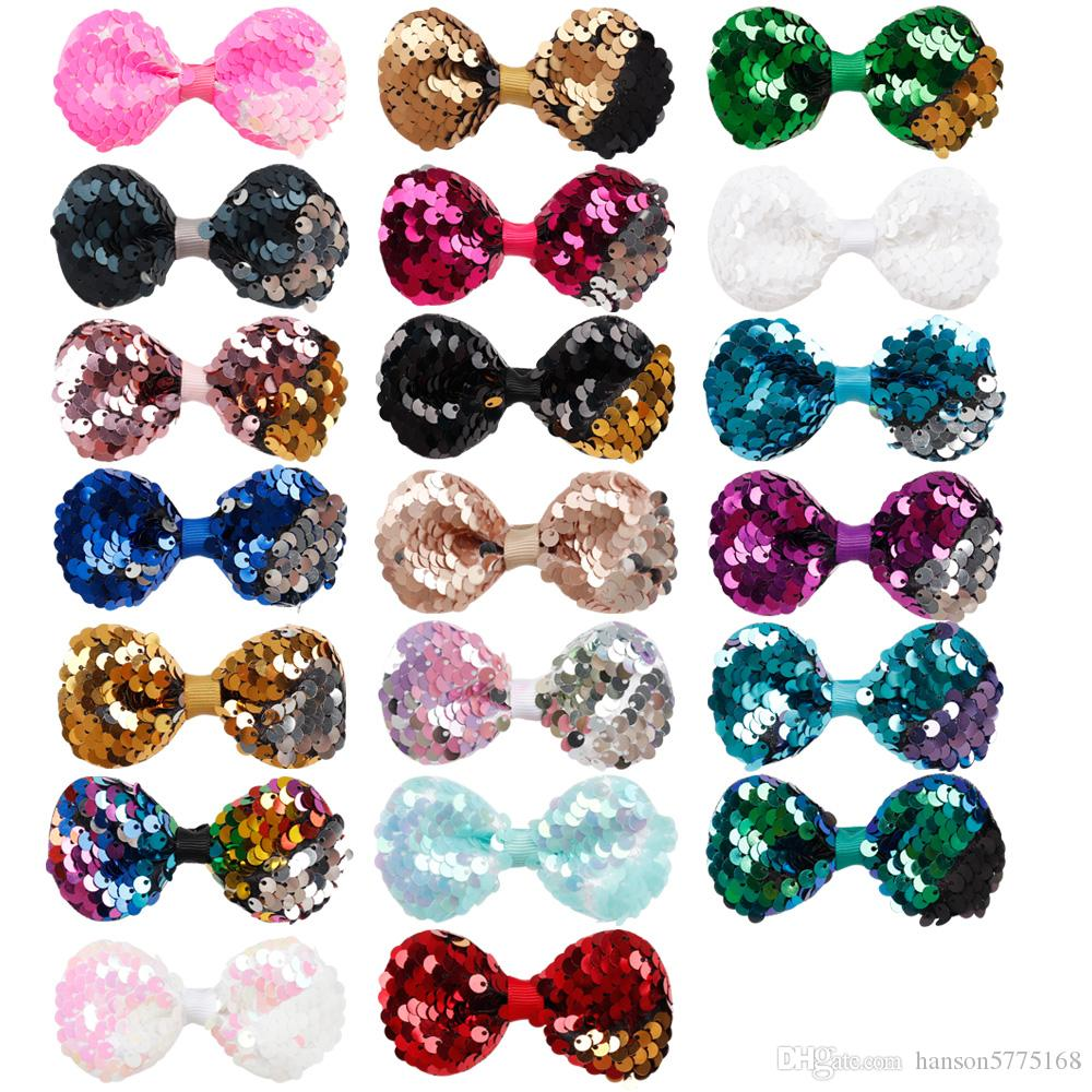 20 Colors Cute 3 inch Girls Embroidered Sequin Hair Bows With Alligator Clips For Kids Colorful Hairpins Bling Hair Accessories
