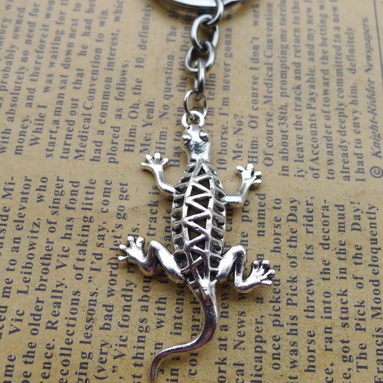 Alaşım Antik Silver House Lizard Anahtar Toka Pendeloque Kesim Antik Gümüş Süsler Parçaları