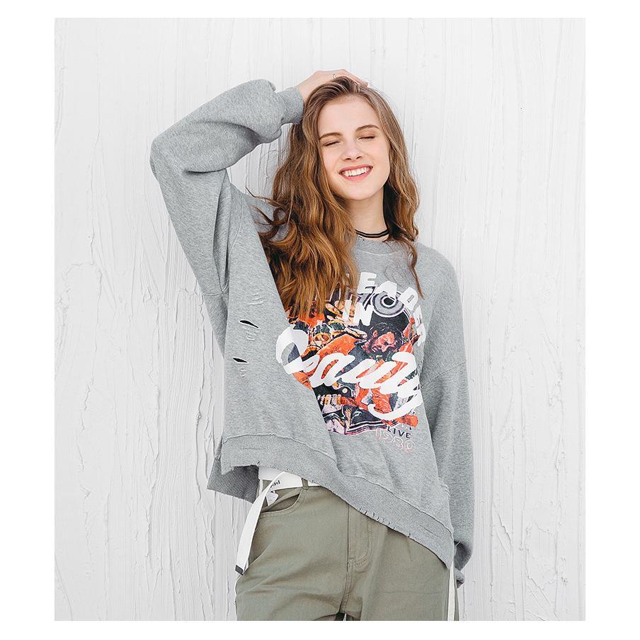All'ingrosso-Nuovo Autunno usurate Stampato a maniche lunghe maglione con cappuccio Top Women Designer