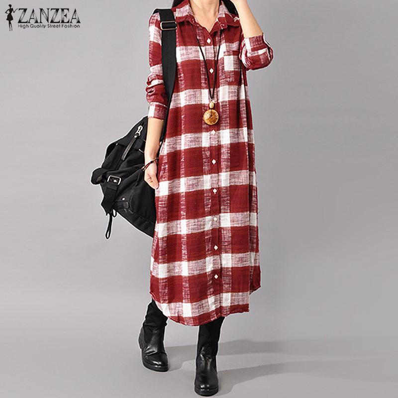2020 Plaid Chirt Vestido ZANZEA Women Lapel Neck Long Sleek Long Sleeve Long Sweek Understand Button Tunic Sundress Robb T200416