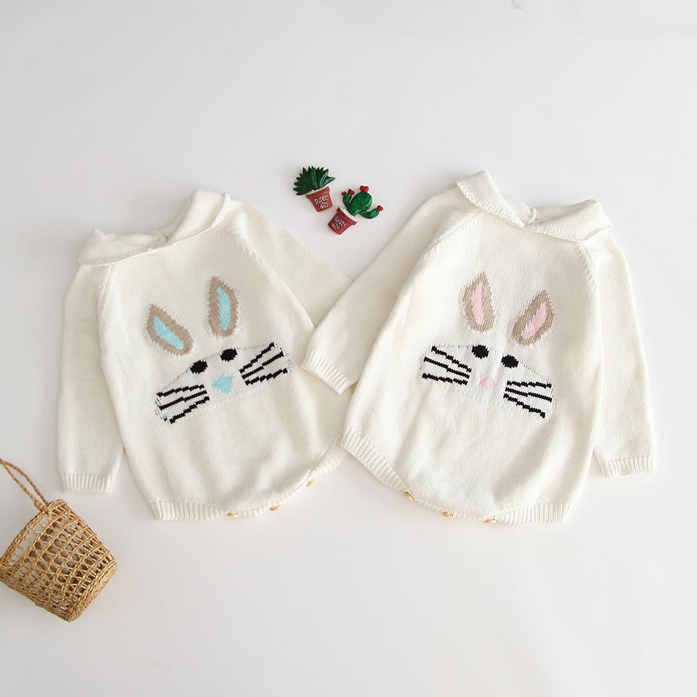 INS bébé enfants vêtements Romper 100% coton à manches longues lapin design confortable vêtements d'automne Romper printemps tricotée fille barboteuses 0-2T