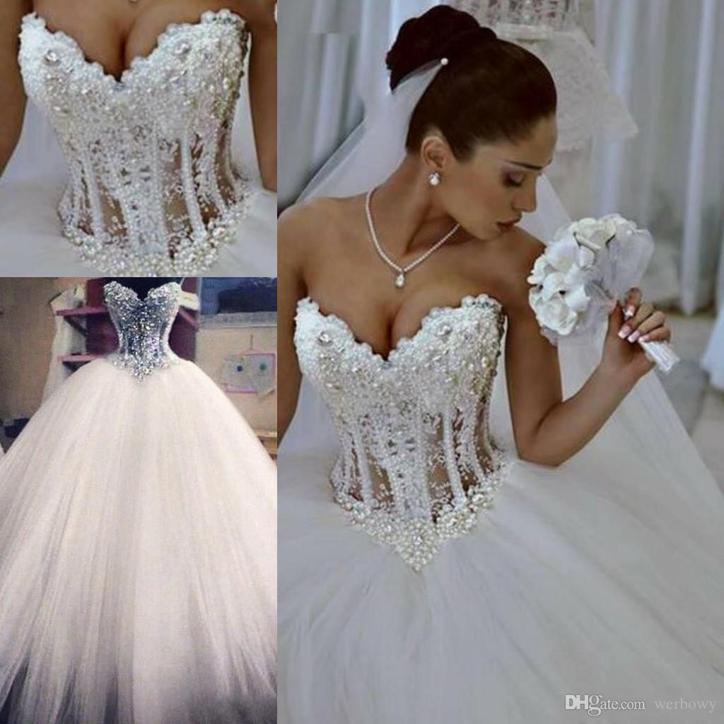 2020 Ballkleid Brautkleider Schatz Korsett durchschauen bodenlangen Prinzessin Brautkleider wulstige Spitze Perlen Maß HY345