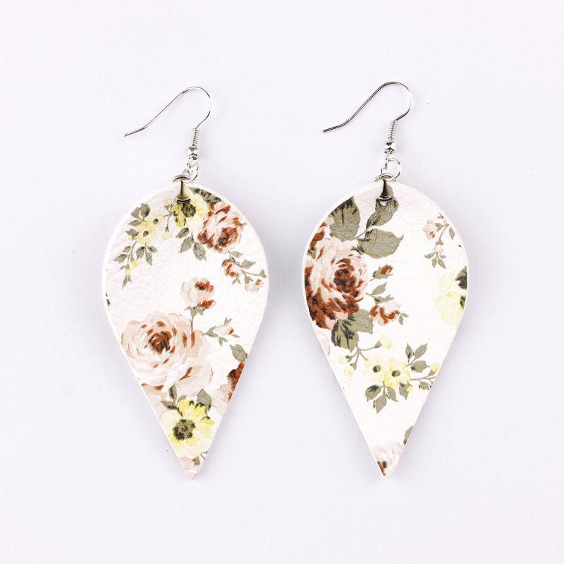 Fashion-stampato fiore foglia pelle ciondola goccia orecchini per le donne della Boemia di stile dei fogli Dichiarazione orecchini per le donne Boho di estate Jewelry