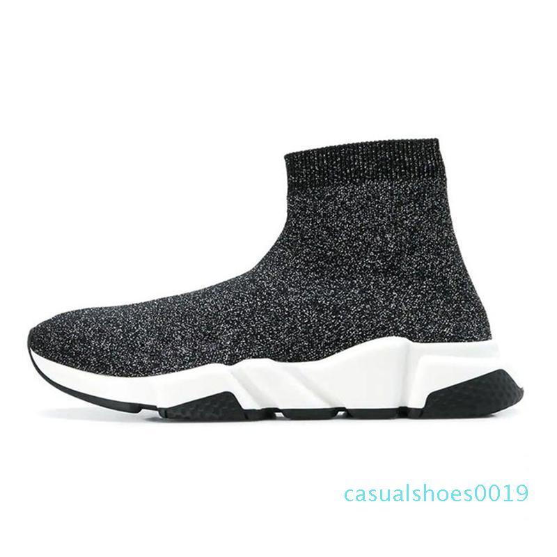 2020 diseñador ocasional calcetín Zapatos Speed Trainer Triple Negro Blanco Negro Botas de moda de lujo deportivos Chaussette la zapatilla de deporte de zapatos c19