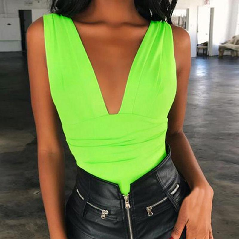 Summer Green Fluorescent Bodys Sexy Club moulante barboteuses dos nu col en V Printemps Body Party Femmes Buste gratuit Hauts PL0370M
