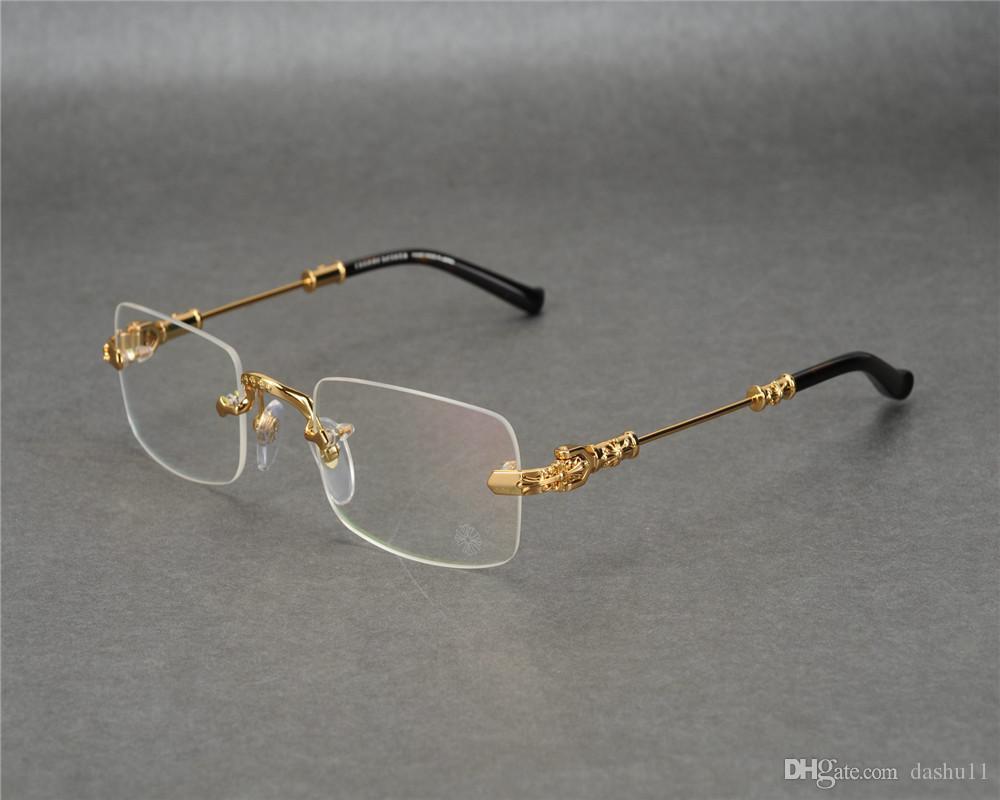 DOWER ME Randlos Fashion New Business Design Männer Gold Silber-Raum-Objektiv Myopie Brillen Rahmen Lesebrillen JLS