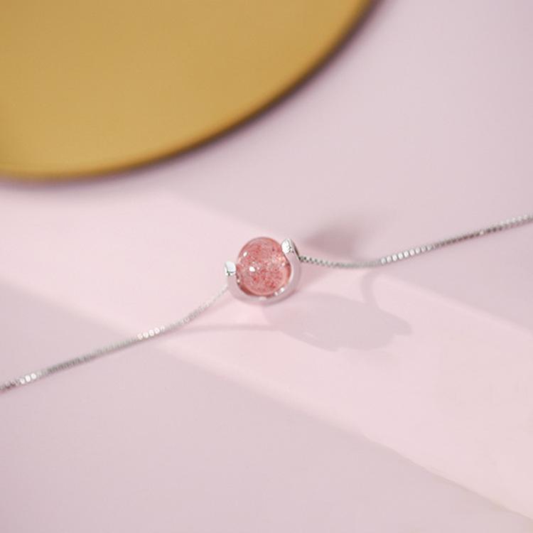 S925 Стерлингового Серебра Браслет Клубнично Розовый Ювелирные Изделия