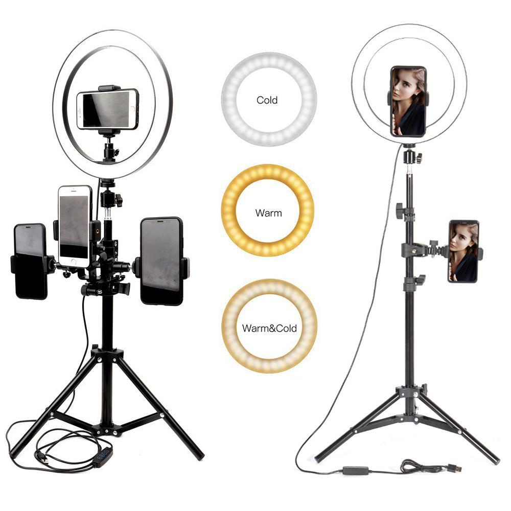 "10"" 26cm LED Studio Camera Ring Light Photography Photo Camera Ring Lights With Tripod USB Plug For Phone Holder Make Up Youtube Tiktok"