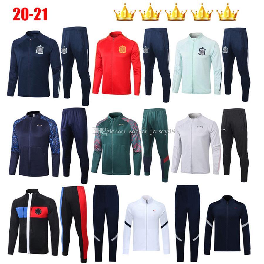 2020 2021 Survetement التدريب دعوى رياضية ميسي إسبانيا إسبانيا POGBA كروس هاملز كرة القدم جيرسي فوتبول Camiseta مجموعات سترة لكرة القدم