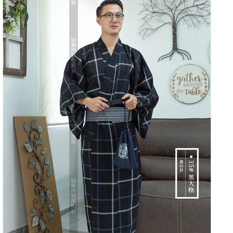 Männliche kühle Traditionelle japanische Kimono Männer Baumwoll Robe Yukata Herrenkimonobademantel Nachtwäsche mit Gürtel Handtasche H9058