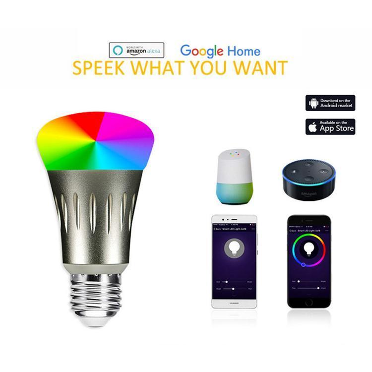 Bulb inteligente LED Smartphone App Controlado Bulb Regulável coloridos 7W E27 WiFi Luz Funciona com controle de voz Alexa