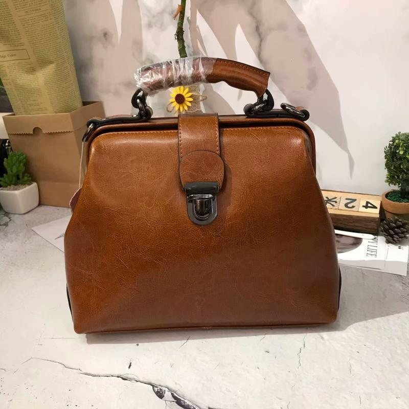 Decent2019 Woman New Korean Fashion Handbag Genuine Leather Two Layer Cowhide Single Shoulder Restore Ancient Ways Clip Package