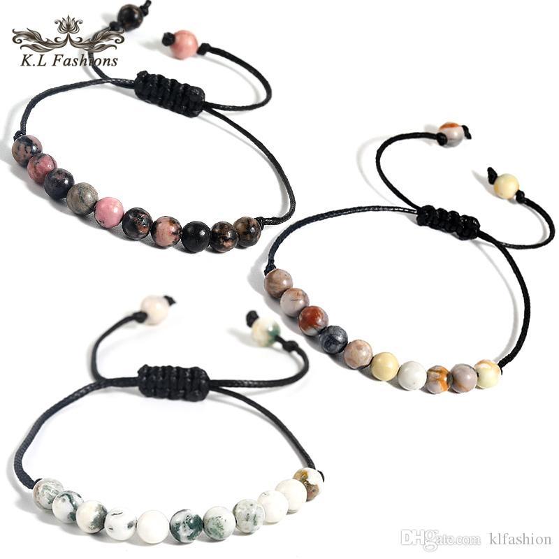 2020 Moda de 6 mm de piedra natural pulseras hechas a mano de la armadura trenzada cuerda de cera pulseras para la joyería de las mujeres de los hombres de la playa Abjustable verano regalo
