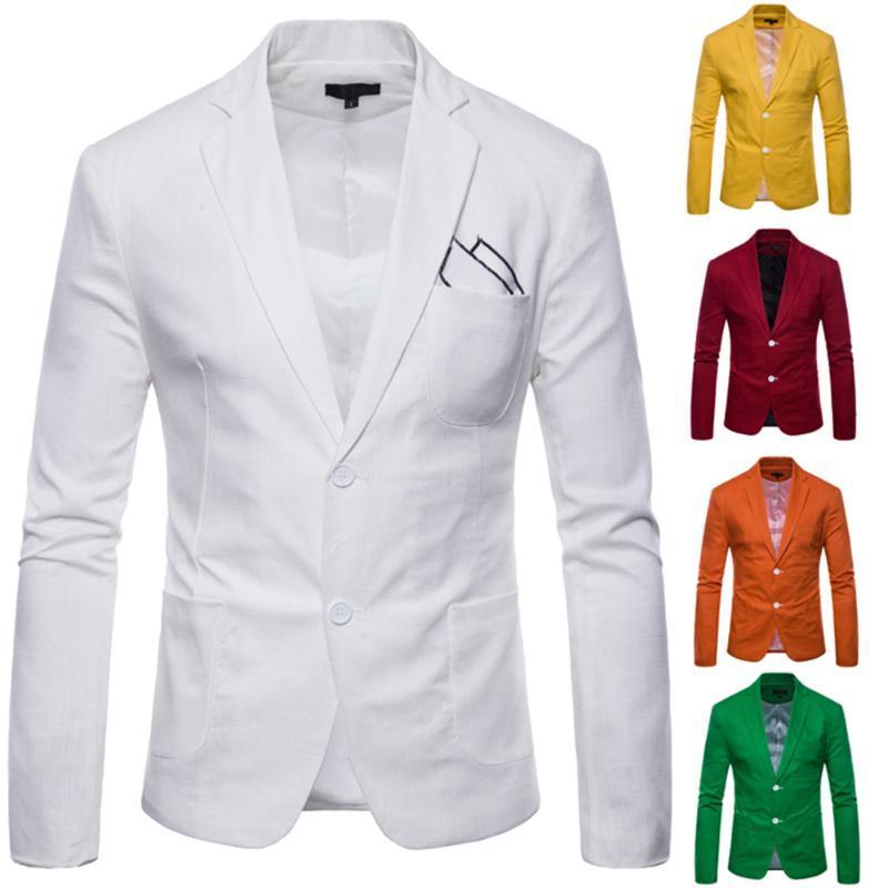 Nuovo Giacca da uomo Blazer Giacca Sottile Casual Blazer Flax Slim England Suit Blaser Masculino Giacca maschile Uomo