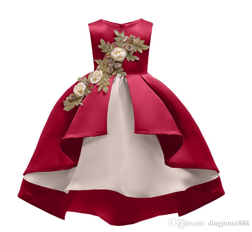 2019 Nueva tendencia de la moda de verano las niñas vestido de costura patrón floral Europea y los niños estadounidenses se visten vestido de princesa