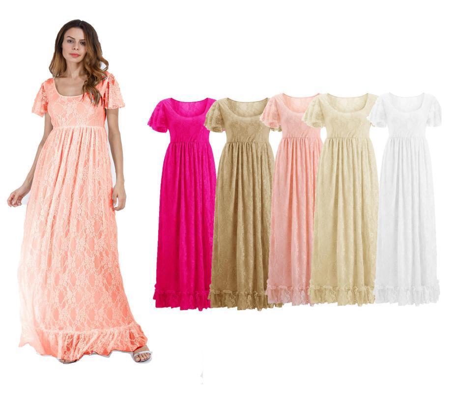 여성의 레이스가 임신 한 여성의 주름 짧은 소매 한 조각 드레스 사진 짧은 소매 드레스