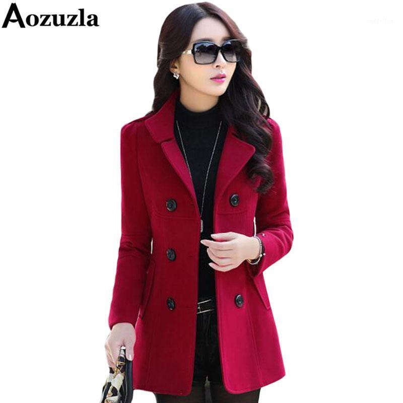 Blazers Chaquetas y 2019 de moda más el tamaño M-3XL doble de pecho abrigo de invierno Blaser Femenino Y4661 Blazers Botón de lana