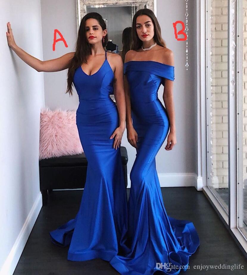 2020 nuovi abiti da damigella d'onore in raso blu royal lunghi abiti da cerimonia convenzionali con spalle scoperte con cerniera sulla spalla indietro dolce 16 ragazze junior abito da damigella d'onore BM1543