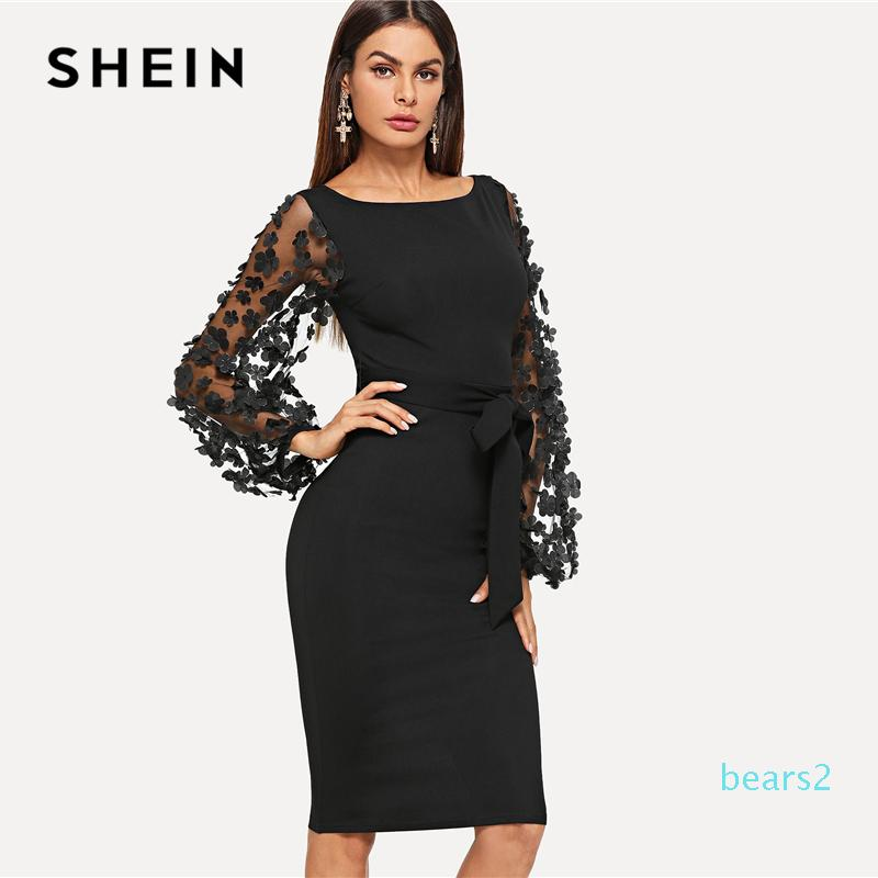 Black Party Elegant Flower Applique Contrast Mesh Sleeve Form Fitting Belted Solid Dress Autumn Women Streetwear Dresses JH01