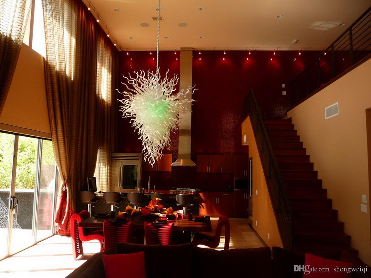 100%HandmadeBlownMuranoGlassChihuly Style Art Chandelier Hotel Decor Glass Shade LED Light Source AC 110V 240V Custom Made Chandelier