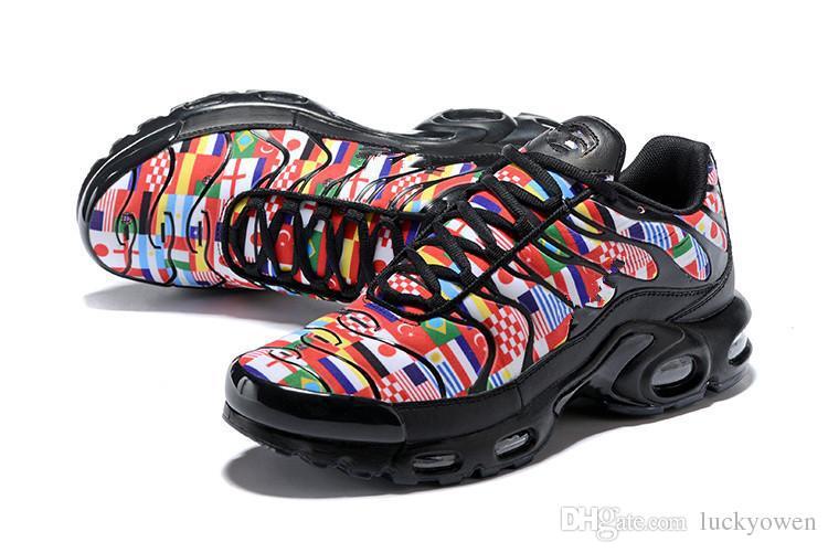 Nike Air airmax Max Plus Nic QS One World 2018 TN Plus NIC QS 90 Drapeau International Hommes Femmes Course Chaussures Coupe Du Monde Limitée NIC QS