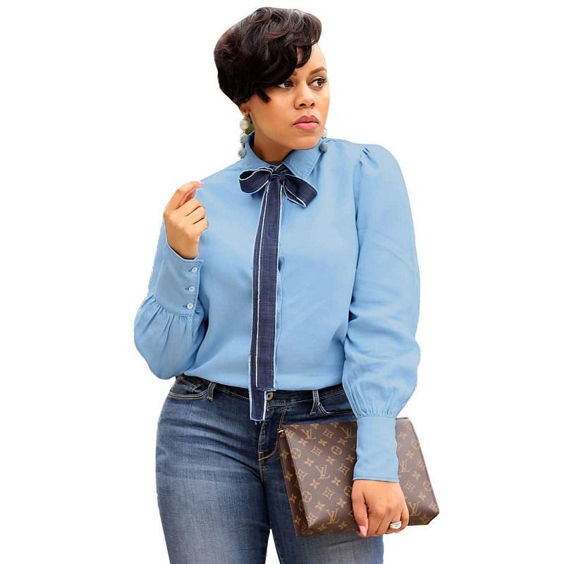 Ofis bayan yeni stil bağcıklı çevirmek aşağı yaka kot renk gömlek avrupa sıcak satış ofisi rahat tarzı üstleri