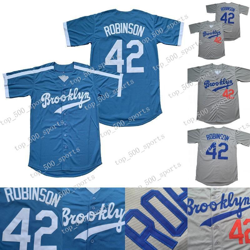 망 # 42 Jackie Robinson Jersey 로스 앤젤레스 브루클린 Jackie Robinson 스티치 야구 유니폼 화이트 블루 도매