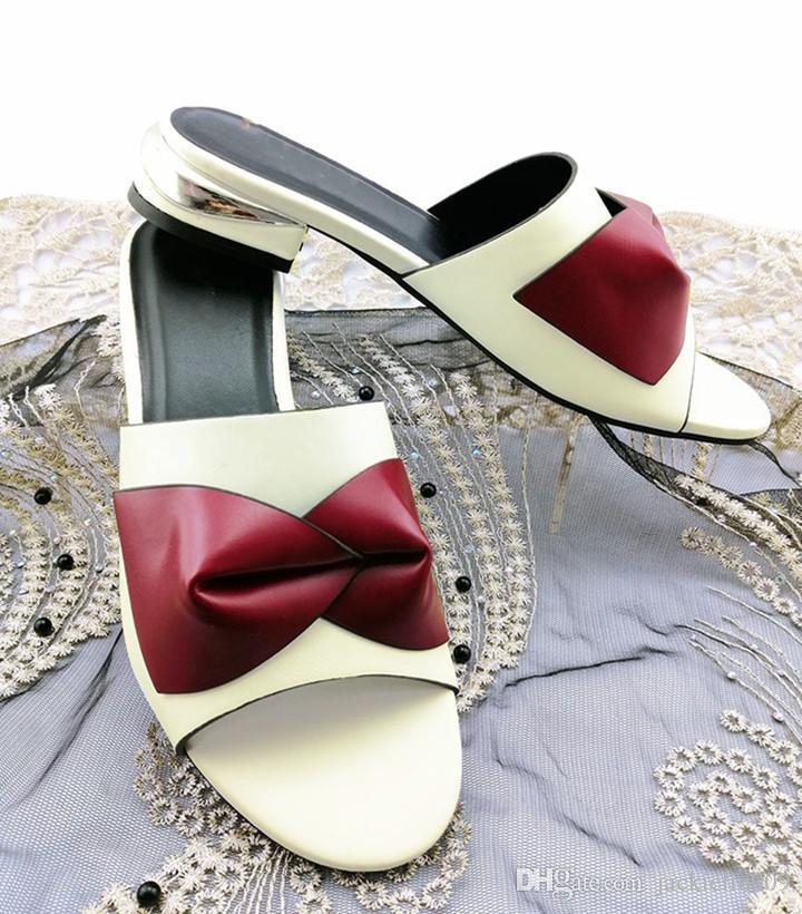 Belas mulheres brancas sapatos bowtie estilo senhoras sandálias africanas para vestir QS1905, 3.5CM salto alto