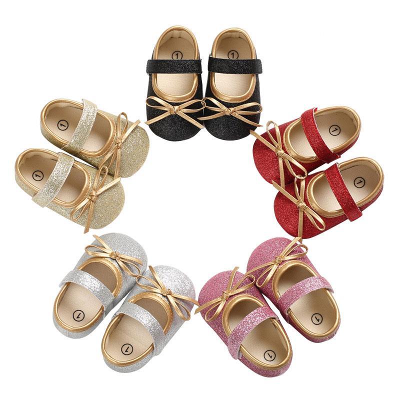 0-18M Детские ходунки Первая новорожденный Блестки принцессы Обувь Sneaker Детские Повседневная обувь