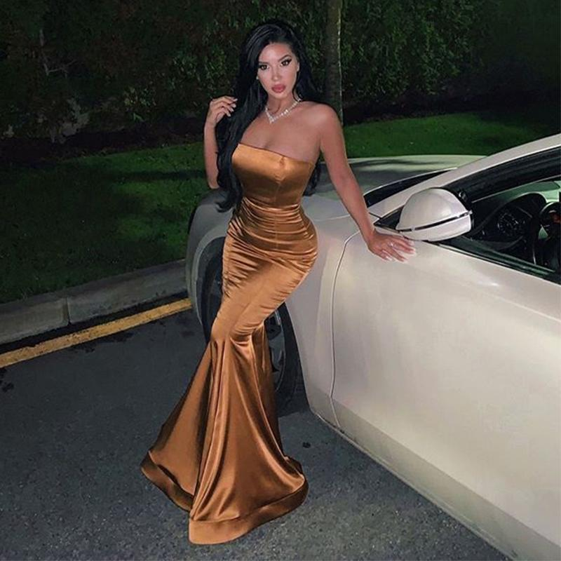 Simple Style Strapless Slim Fit Mermaid Prom Evening Dresses Long Gowns