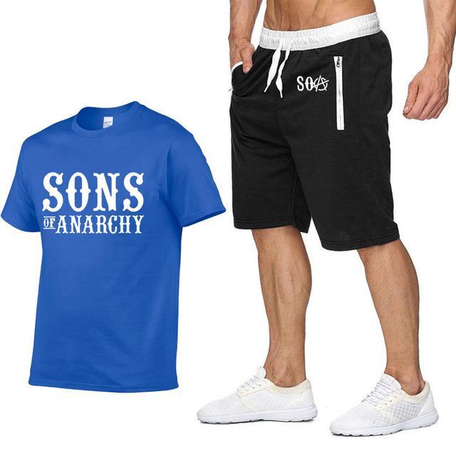 Anarşi T Gömlek pantolon SOA Sons Spor Yaz Erkek Tişörtü SAMCRO kaliteli Pamuk Hip Hop Harajuku Kısa SleeveE uyacak