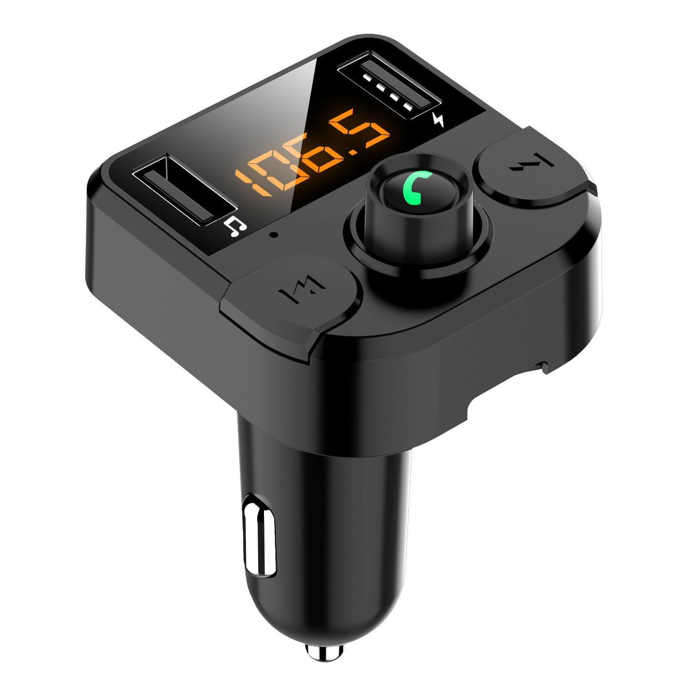 BT36B FM Transmitter Hands-free Orange LED Screen Noise Elimination Function Bluetooth 5.0 MP3 Player USB Charger for Phone