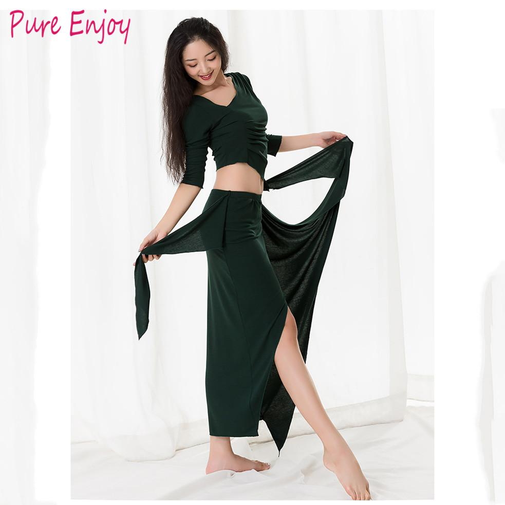 Belly Dance Costume New Women Practice Suit Top+Long Skirt 2Pcs Sexy Short Sleeve Belly Dancing Dress Performance Clothes