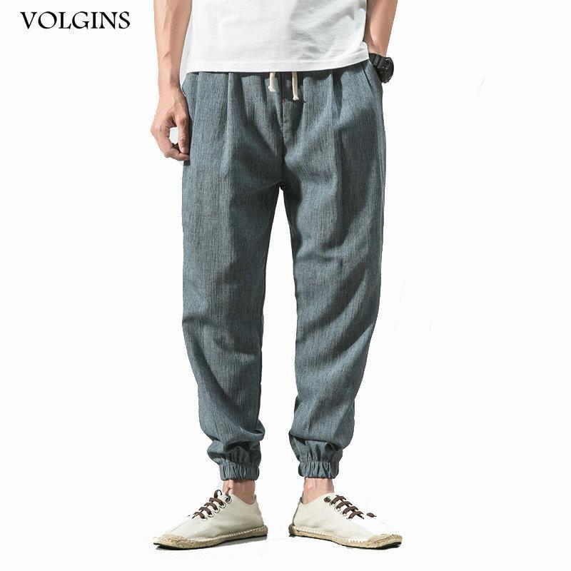 Мужские брюки уличные весной и летние мужчины мода китайский стиль мужские хлопковые льняные брюки свободно мужского повседневного гарема