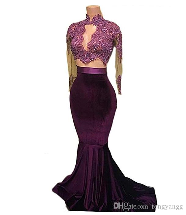 Sexy Lace Appliques Mermaid Evening Dresses With Long Sheer Sleeves Jewel Neck See Though Formal Evening Wear Sweep Train Prom Gown