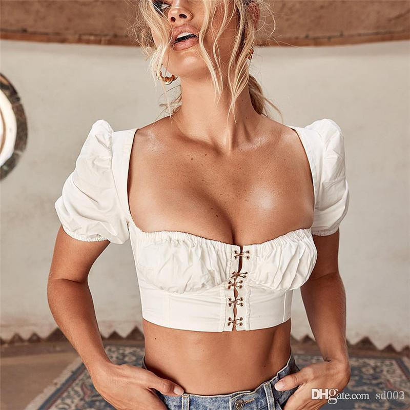퍼프 소매 조끼 탱크 셔츠 자르기 최고 광장 칼라 버튼 짧은 Sleeveles T 셔츠 패션 여성 홈 의류 32 9 그램 E1