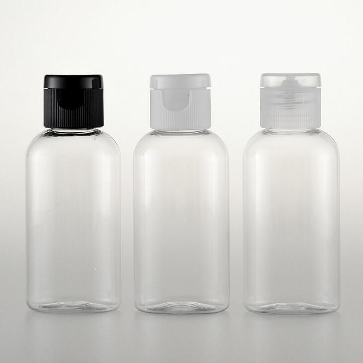 50 ml Flip Cap bottiglia, plastica trasparente sub-imbottigliamento per lozione, piccolo vuoto shampoo contenitore cosmetico di trasporto libero LX1460