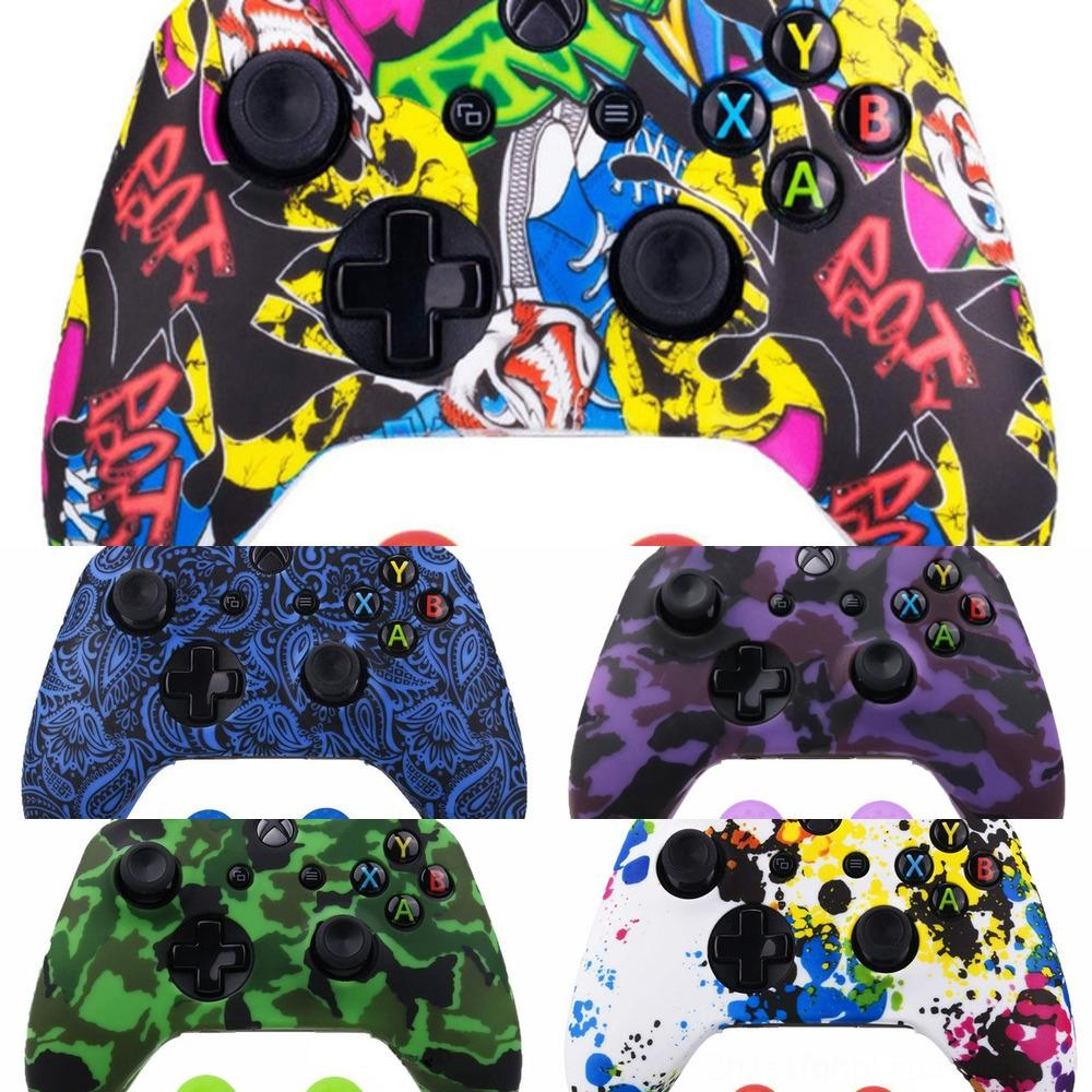 pNV5t Silicone Protective Case Skin for One XBox X S Controller Protector Water Transfer Printing Camouflage Cover Grips Caps