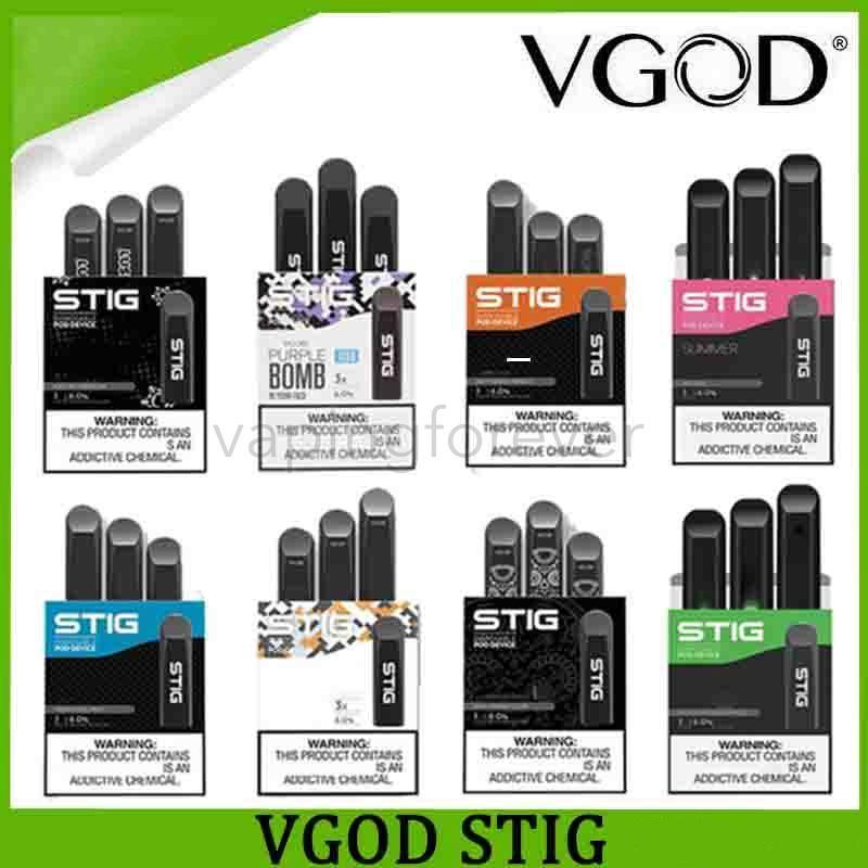 VGOD STIG monouso Pod Con 8 colori Vape dispositivo 3Pcs pacchetto 270mAH batteria 1,2 ml Cartuccia Vape Pen Kit