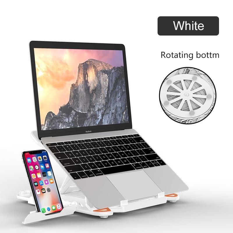 360 Rotation Laptop Stand pliable Notebook Stand pour macbook Lenovo portable Support d'ordinateur de refroidissement Support Avec Support de téléphone