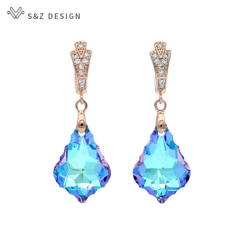 S&Z New Colorful Fashion Imitation Crystal Water Drop Dangle Earrings 585 Rose Gold For Women Wedding Party Gift Eardrop