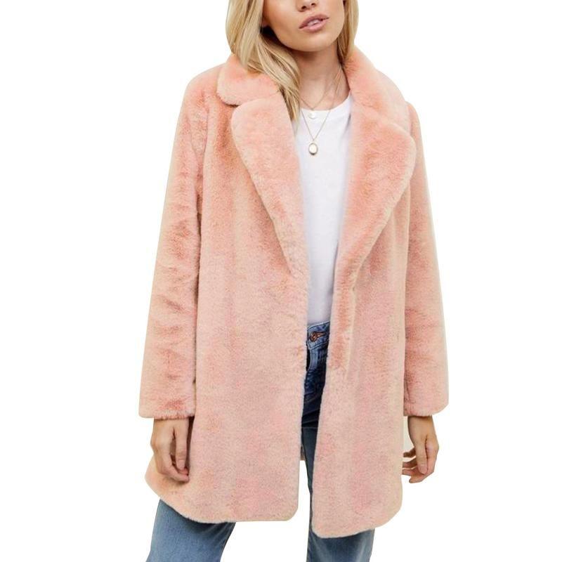 2018 Moda Faux Kürk Pembe Uzun Kollu Coat Boyfriend Stil Kadın Için kalın Sıcak Uzun Coat Doğal Renk Boyut S M L Xl 2xl 3xl
