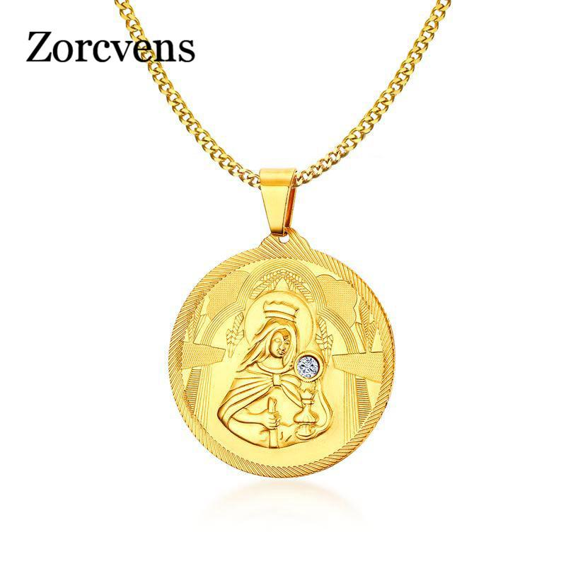 Modyle Lucky Gold Colore Vergine Maria Ciondoli Collane a catena Donna Cristianità Gioielli regali