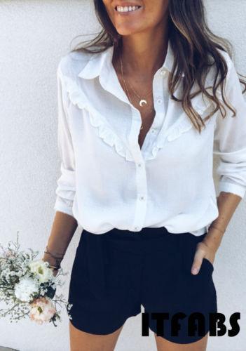 2019 mujeres atractivas de moda de manga larga blusa suelta verano cuello en V señoras ocasionales camisa blanca Tops sólido NUEVO